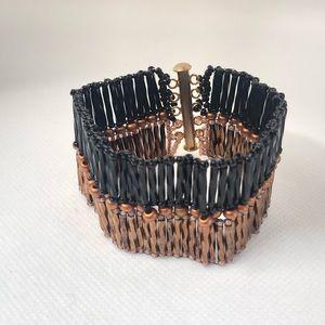 Vintage Black & Copper Metal Wide Bracelet